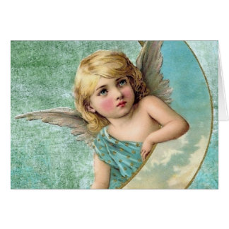Cartes Illustration victorienne de cru d'ange et de lune