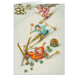 Cartes Illustration vintage, filles de ski