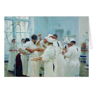 Cartes Ilya Repin- le chirurgien dans le théâtre