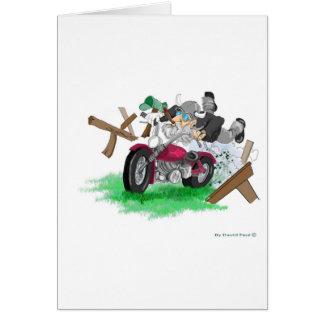 Cartes Image drôle de l'homme sur se briser de moto