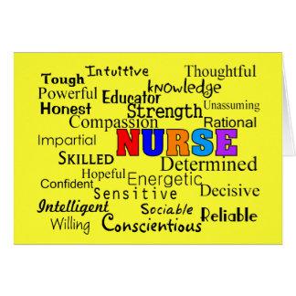 Cartes Infirmière décrivant des cadeaux de mots