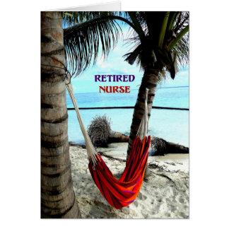 Cartes Infirmière retraitée - hamac à la plage