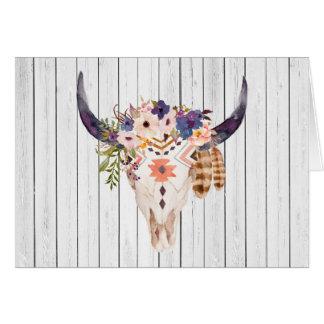 Cartes Inscriptions tribales et fleurs de crâne de vache