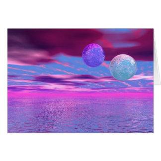 Cartes Inséparables - passion rose et pourpre abstraite