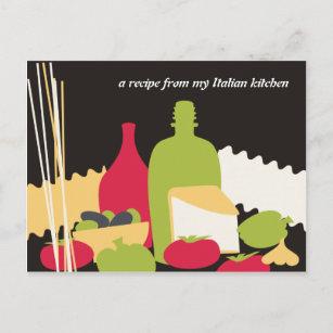 cartes italiennes de recette de chef de nourriture