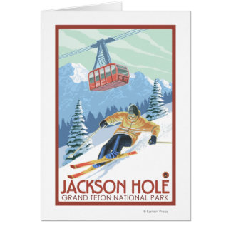 Cartes Jackson Hole, skieur du Wyoming et tram