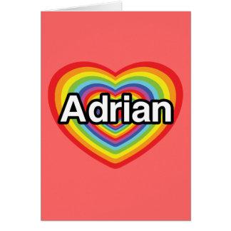 Cartes J'aime Adrian, coeur d'arc-en-ciel