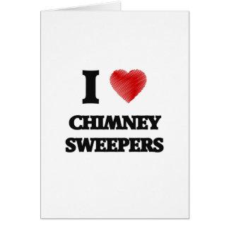 Cartes J'aime des balayeuses de cheminée (le coeur fait à