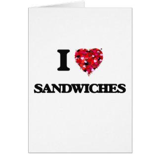 Cartes J'aime la conception de nourriture de sandwichs
