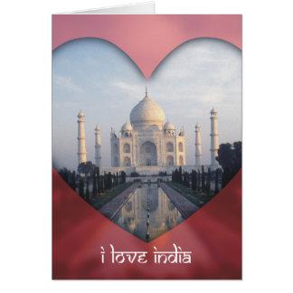"""Cartes """"J'aime le coeur de l'Inde"""" le Taj Mahal"""