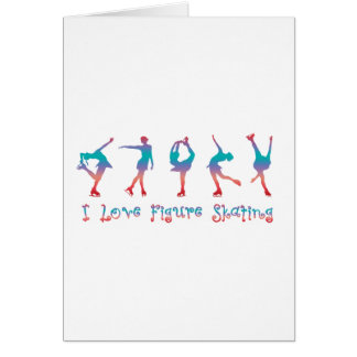 Cartes J'aime le patinage artistique - baie de cerise
