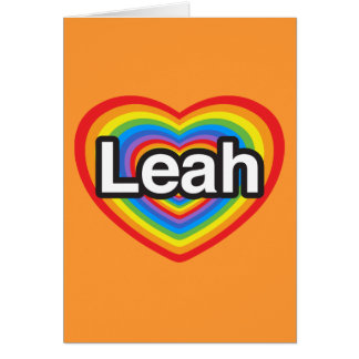 Cartes J'aime Leah. Je t'aime Leah. Coeur