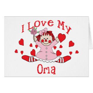 Cartes J'aime ma poupée et coeurs de chiffon d'Oma