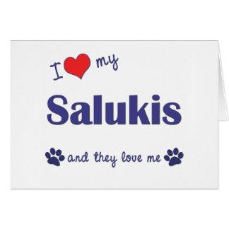 Cartes J'aime mon Salukis (les chiens multiples)