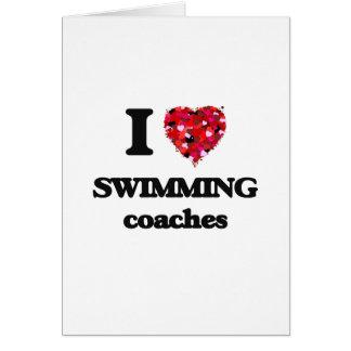 Cartes J'aime nager des entraîneurs