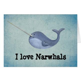 Cartes J'aime Narwhals