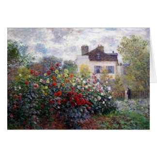 Cartes Jardin de Giverny avec des dahlias par Claude