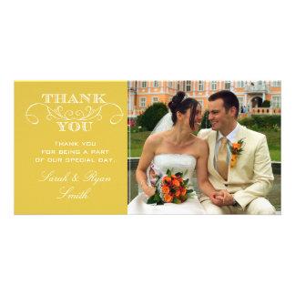 Cartes jaunes chics de Merci de photo de mariage Photocartes Personnalisées