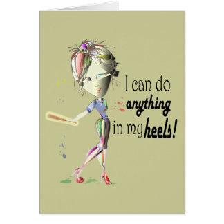 Cartes Je peux faire le base-ball dans des mes talons !