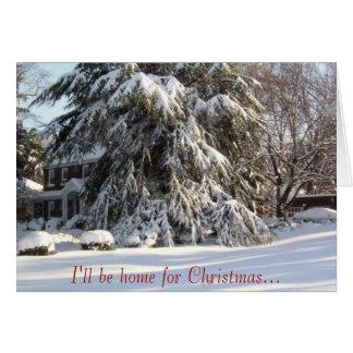 Cartes Je serai à la maison pour Noël…