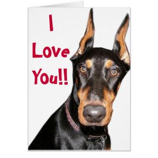 Cartes Je t'aime ! ! Dobermann