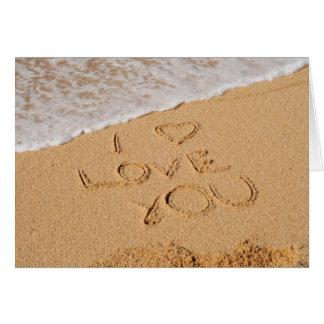 Cartes Je t'aime écrit sur le sable