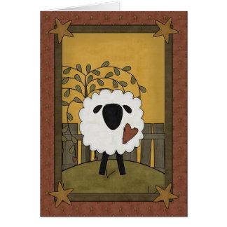 Cartes Je t'aime scène de moutons