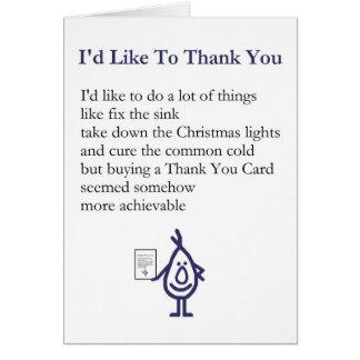 Cartes Je voudrais au Merci - un original vous remercie