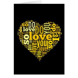Cartes Je vous aime art noir jaune de textes de forme de