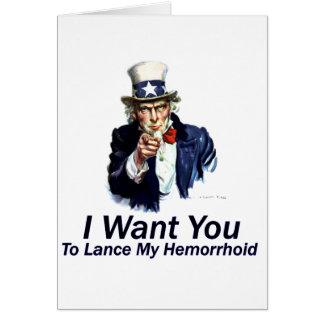 Cartes Je vous veux : À la lance mon hémorroïde