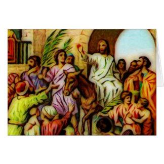 Cartes Jésus monte l'âne dans Jérusalem