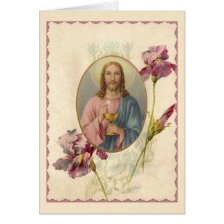 Cartes Jésus tenant l'eucharistie et le calice