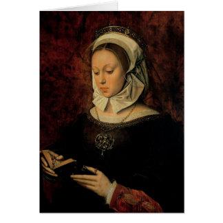 Cartes Jeune femme lisant un livre des heures (huile sur