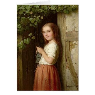 Cartes Jeune fille se tenant dans un tricot de porte,