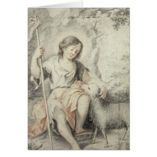 Cartes Jeune John avec l'agneau dans un paysage