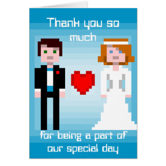 Cartes Jeunes mariés de pixel - Merci - bleu