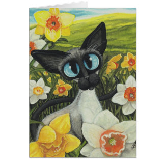 Cartes Jonquilles de Pâques de chat siamois de ressort