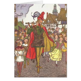 Cartes Joueur de pipeau pie vintage de conte de fées de