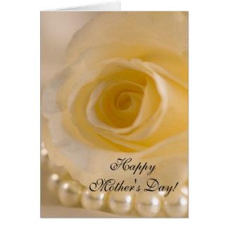 Cartes Jour de rose blanc et de mères de perles