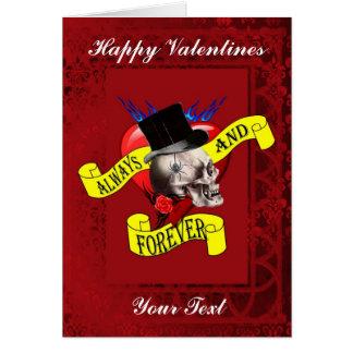 Cartes Jour de valentines gothique de coeur de tatouage