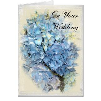 Cartes Jour du mariage bleu de fleur d'hortensia