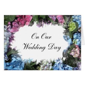 Cartes Jour du mariage de cadre de fleur d'hortensia