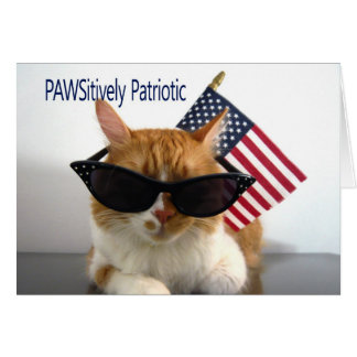Cartes Jour du Souvenir heureux - chat patriotique de