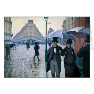 Cartes Jour pluvieux de rue de Paris par Gustave