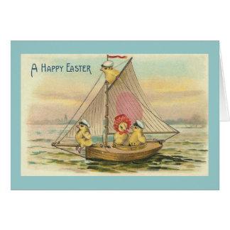 Cartes Joyeuses Pâques sur un cru de voilier