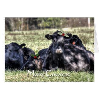 Cartes Joyeuses salutations de Cowmas de houx noir