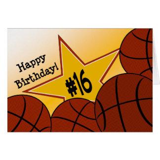 Cartes Joyeux 16ème anniversaire, star du basket-ball !