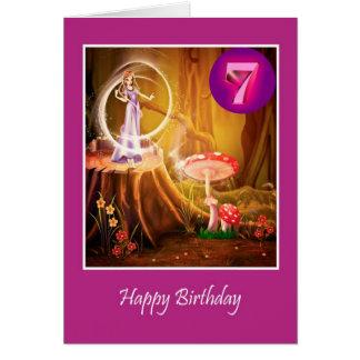 Cartes Joyeux 7ème anniversaire pour la fille avec la fée