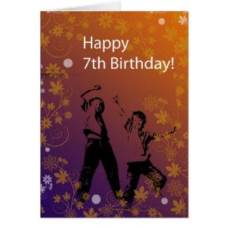 Cartes Joyeux 7ème anniversaire pour le garçon