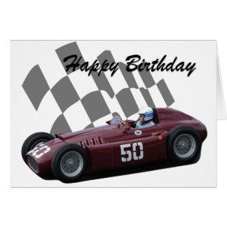 Cartes Joyeux anniversaire 7 de voiture de course vintage